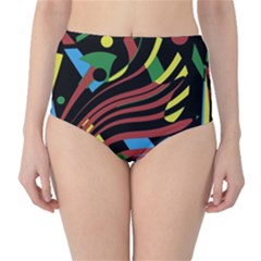 Optimistic abstraction High-Waist Bikini Bottoms