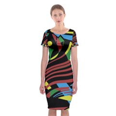 Optimistic abstraction Classic Short Sleeve Midi Dress