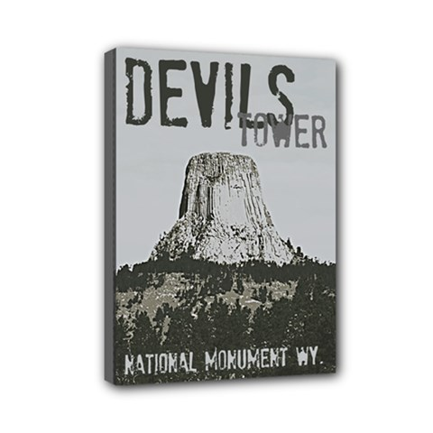 Devils Tower Stamp Mini Canvas 7  x 5