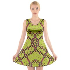 K,ukujjj (4) V Neck Sleeveless Skater Dress