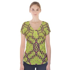 K,ukujjj (4) Short Sleeve Front Detail Top