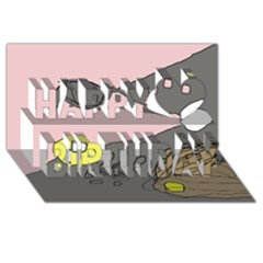 Decorative abstraction Happy Birthday 3D Greeting Card (8x4)