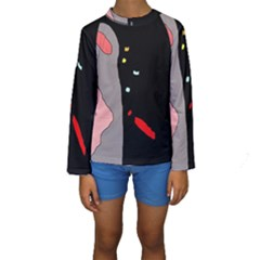 Crazy Abstraction Kid s Long Sleeve Swimwear