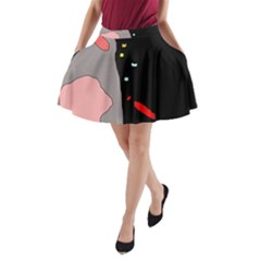 Crazy abstraction A-Line Pocket Skirt