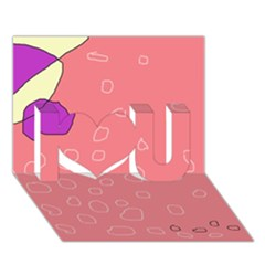 Pink abstraction I Love You 3D Greeting Card (7x5)