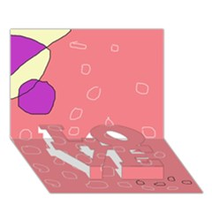 Pink abstraction LOVE Bottom 3D Greeting Card (7x5)