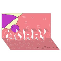Pink abstraction SORRY 3D Greeting Card (8x4)