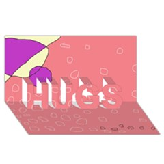 Pink abstraction HUGS 3D Greeting Card (8x4)