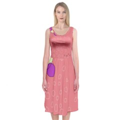 Pink abstraction Midi Sleeveless Dress