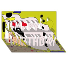 Yellow abstraction Happy Birthday 3D Greeting Card (8x4)
