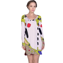 Yellow abstraction Long Sleeve Nightdress