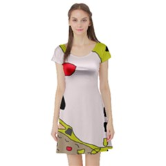 Yellow abstraction Short Sleeve Skater Dress