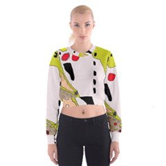 Yellow abstraction Women s Cropped Sweatshirt