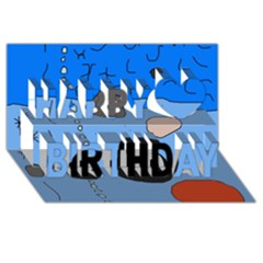 Blue Abstraction Happy Birthday 3d Greeting Card (8x4)