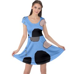 Blue abstraction Cap Sleeve Dresses