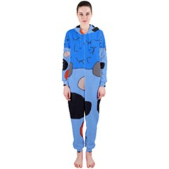 Blue abstraction Hooded Jumpsuit (Ladies)