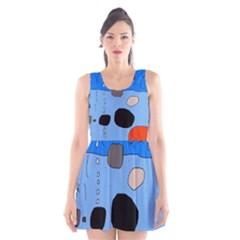 Blue abstraction Scoop Neck Skater Dress