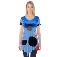 Blue abstraction Short Sleeve Tunic