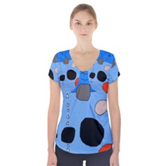 Blue Abstraction Short Sleeve Front Detail Top
