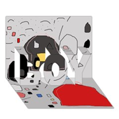 Playful abstraction BOY 3D Greeting Card (7x5)