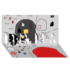 Playful abstraction BEST BRO 3D Greeting Card (8x4)