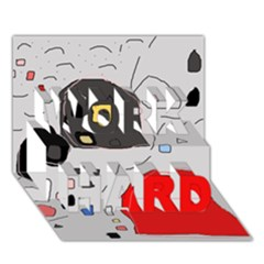 Playful abstraction WORK HARD 3D Greeting Card (7x5)
