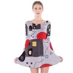 Playful abstraction Long Sleeve Velvet Skater Dress