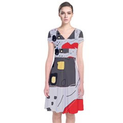 Playful abstraction Short Sleeve Front Wrap Dress