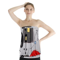 Playful abstraction Strapless Top