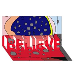 Playful abstraction BELIEVE 3D Greeting Card (8x4)