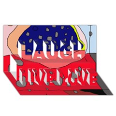 Playful abstraction Laugh Live Love 3D Greeting Card (8x4)