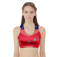Playful abstraction Sports Bra with Border