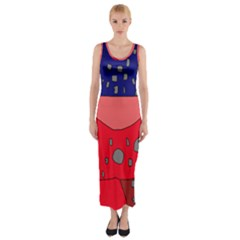 Playful abstraction Fitted Maxi Dress
