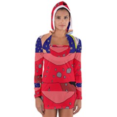 Playful abstraction Women s Long Sleeve Hooded T-shirt
