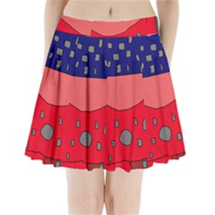 Playful abstraction Pleated Mini Mesh Skirt(P209)