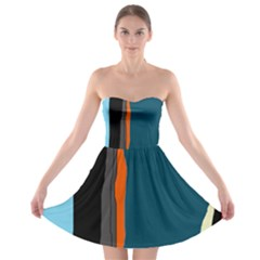 Colorful lines  Strapless Dresses