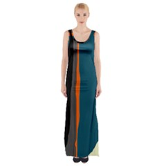 Colorful lines  Maxi Thigh Split Dress