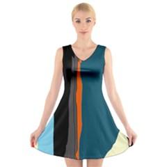 Colorful lines  V-Neck Sleeveless Skater Dress