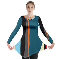 Colorful lines  Long Sleeve Tunic