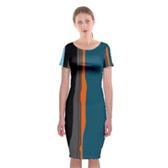Colorful lines  Classic Short Sleeve Midi Dress