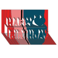 Decorative lines Happy Birthday 3D Greeting Card (8x4)