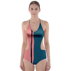 Decorative Lines Cut Out One Piece Swimsuit