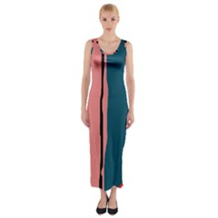Decorative lines Fitted Maxi Dress
