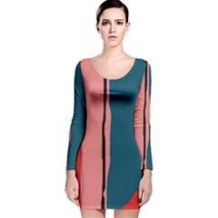 Decorative lines Long Sleeve Velvet Bodycon Dress