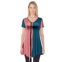 Decorative Lines Short Sleeve Tunic