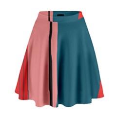 Decorative Lines High Waist Skirt