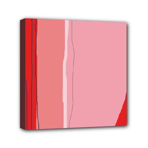 Red and pink lines Mini Canvas 6  x 6
