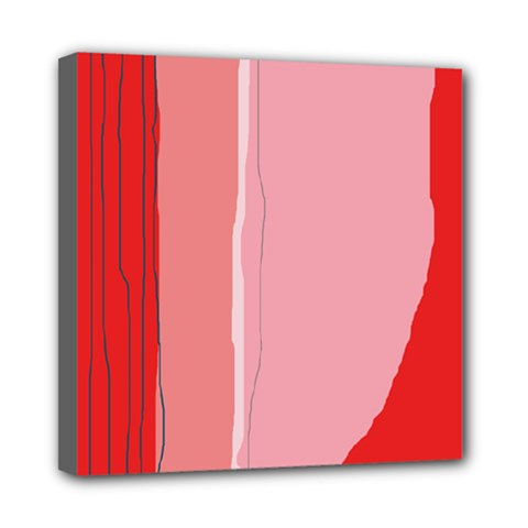 Red and pink lines Mini Canvas 8  x 8