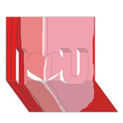 Red and pink lines I Love You 3D Greeting Card (7x5)