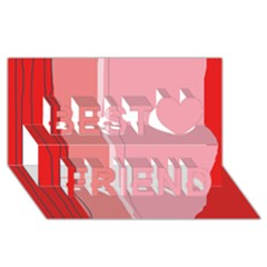 Red and pink lines Best Friends 3D Greeting Card (8x4)